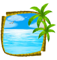 Sea scene with coconut frame vector