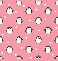 seamless cute penguin and heart pattern vector image