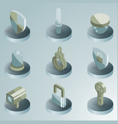 security color isometric icons vector image