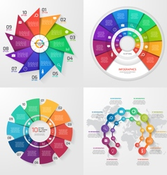 set of 4 infographic templates with 10 options vector image