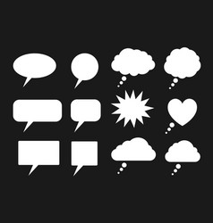 set white speech bubbles silhouettes vector image