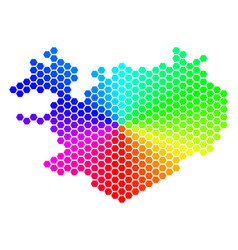 spectrum hexagon iceland map vector image