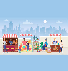 Street food market flat vector