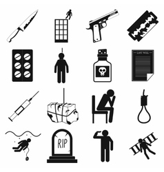 Suicide icons set simple style vector image