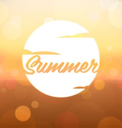 Summer Label on Blurred Background vector image