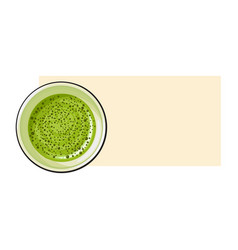 top view drawing of matcha green tea drink in cup vector image vector image
