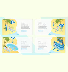 tropical resort landing pages template set travel vector image