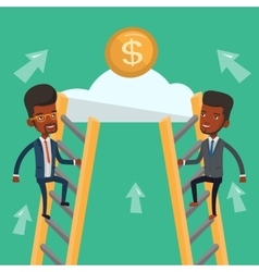 Two businessman competing for the money vector image