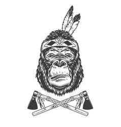 Vintage monochrome serious gorilla head vector