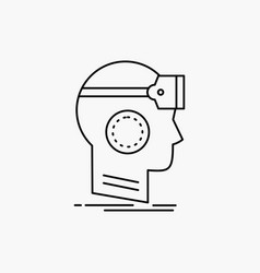 Vr googles headset reality virtual line icon vector