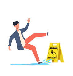 wet floor falling man slips in water vector image