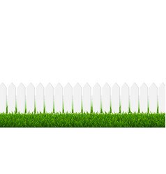 white fence with green grass and white border vector image