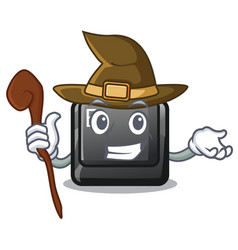Witch button e in mascot shape vector