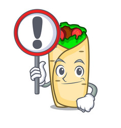 with sign burrito character cartoon style vector image