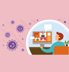 working from home video conference prevention vector image