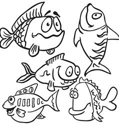 black and white fish set vector image vector image