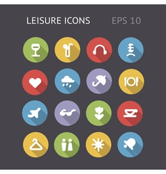 Flat icons for leisure and entertainment vector