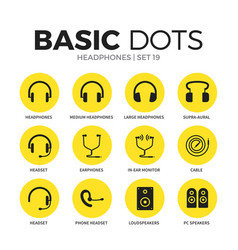 headphones flat icons set vector image