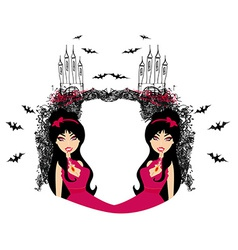 abstract frame of a beautiful female vampire vector image vector image