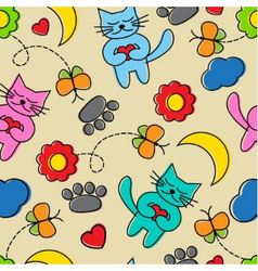 Cartoon seamless pattern with cats vector image vector image