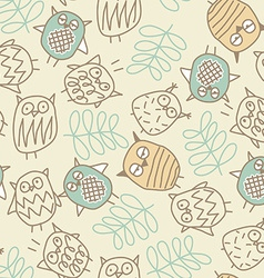 Cute owls in a seamless pattern vector image