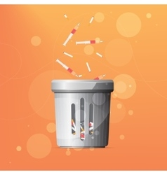 Dustbin for drugs and cigarettes vector image vector image