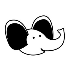 elephant cartoon head in black sections silhouette vector image vector image