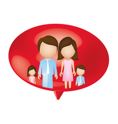 family together inside of bubble vector image