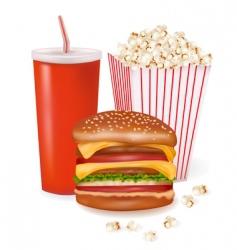 hamburger and popcorn vector image vector image