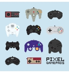 Pixel art isolated gampads vector image vector image