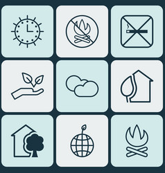Set of 9 ecology icons includes house home sun vector