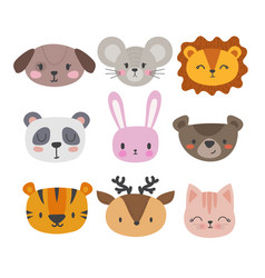 set of cute hand drawn smiling animals cat vector image vector image