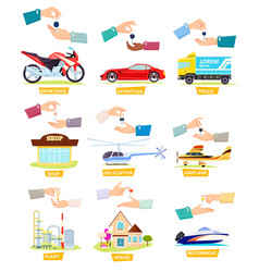 set of icons with selling buying cars houses vector image vector image