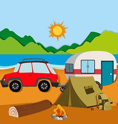Cameground with tent and caravan vector image