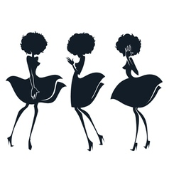 collection of girl silhouettes in disco sty vector image vector image