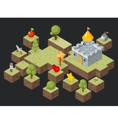 Isometric 3D game play scene vector image vector image