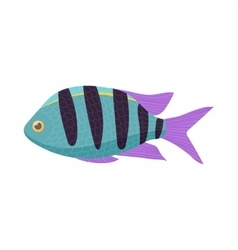 Striped tropical fish icon cartoon style vector image