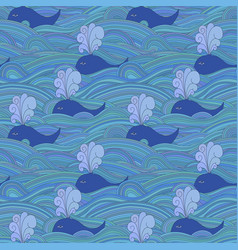 cute unusual seamless pattern with whales in the vector image vector image