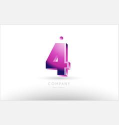 number 4 four black white pink logo icon design vector image