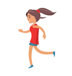 young girl with ponytail in shirt and shorts jogs vector image vector image