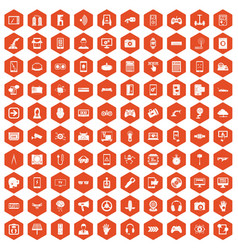 100 gadget icons hexagon orange vector image