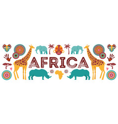 africa banner of safari animals tribal symbols vector image