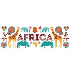 africa banner safari animals tribal symbols vector image