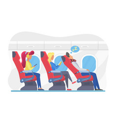 airplane passengers in economy class flat vector image
