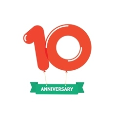 Anniversary 10th balloons poster red label 10 vector