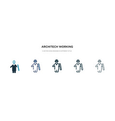 Architech working icon in different style two vector