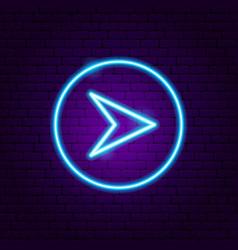 Arrow in circle neon sign vector