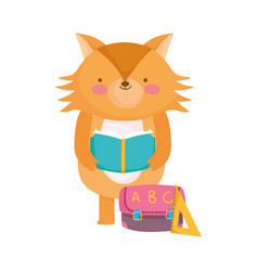 Back to school fox reading book with bag ruler vector