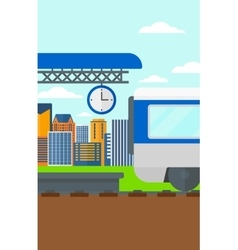 Background train leaving station vector