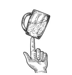 Beer cup spinning on finger engraving vector